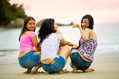 Asian woman friends enjoying sea view Royalty Free Stock Image