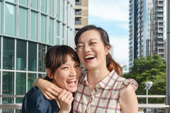 Asian woman with friends Royalty Free Stock Image