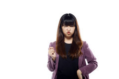 Asian Woman With Funny Expression Stock Image