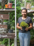 Asian woman gardener holding plant pot and smiling at her garden. Chubby Asian woman gardener holding plant pot with yellow flower and smiling at her garden stock images