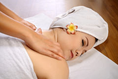 Asian Woman Get Massage On The Spa Royalty Free Stock Photos