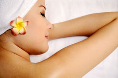 Asian Woman Get Massage On The Spa Royalty Free Stock Photo