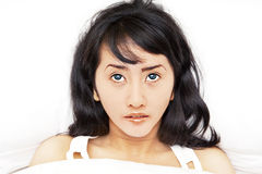 Asian woman getting insomnia Royalty Free Stock Photo