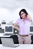 Asian woman getting neck pain Royalty Free Stock Photography