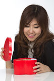 Asian woman and gift Stock Photos