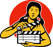 Asian Woman Girl With Movie Clapboard Royalty Free Stock Photos