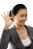 Asian Woman Give Sign OK Royalty Free Stock Photography
