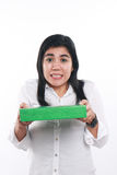 Asian Woman Giving Green Gift Package Box Stock Photography