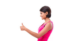 Asian woman giving thumb up gesture Royalty Free Stock Photos