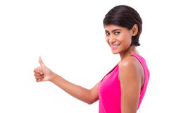 Asian woman giving thumb up gesture Stock Images