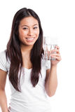 Asian woman with glass of water royalty free stock images