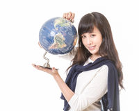 Asian woman with globe in hands Stock Photo