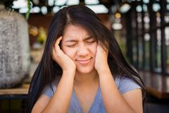 Asian Woman Got Headache Royalty Free Stock Image