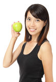 Asian woman with green apple Royalty Free Stock Image