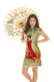Asian woman green dress umbrella look Stock Photos