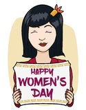 Asian Woman with Greeting Message in Scroll for Women's Day, Vector Illustration royalty free stock photography