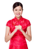 Asian woman with hand congratulation gesture Royalty Free Stock Photos