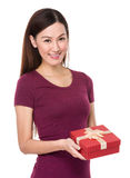 Asian woman hand hold with gift box Royalty Free Stock Photography