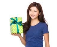 Asian woman hand hold with present box Stock Image