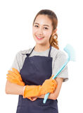 Asian Woman Hand Holding Plastic Cleaning Brush. Stock Photo