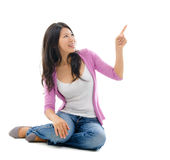 Asian woman hand pointing on blank space Royalty Free Stock Photos