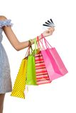 Asian woman hand show credit cards  with shopping bags Royalty Free Stock Photos