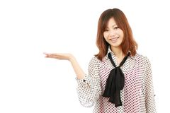 Asian woman hand showing blank sign Stock Photos