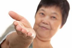 Asian woman hand showing blank sign Stock Photo