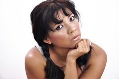 Asian woman hand under her chin, white background Royalty Free Stock Photo