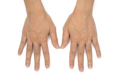 Asian woman hands with clear veins. On white background Stock Image