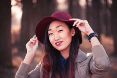 Asian woman in hat Royalty Free Stock Image