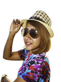 Asian woman with hat and sunglasses Stock Photos