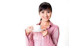 Asian woman have a tea break Stock Photography