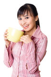 Asian woman have a tea break Stock Images