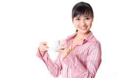 Asian woman have a tea break Royalty Free Stock Photos