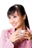 Asian woman have a tea break Stock Photos