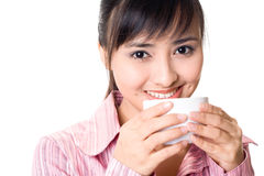 Asian woman have a teabreak Royalty Free Stock Photography