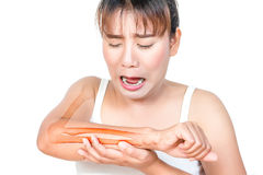 Asian woman having arm pain. And see the bone stock photography