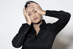 Asian woman headache Stock Photos