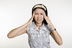 Asian Woman with headache Stock Photos