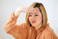 Asian woman headache or stress Stock Images