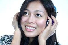 Asian woman headphone series 2 Royalty Free Stock Image