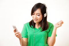 Asian woman and headphone Stock Photography