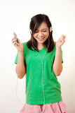 Asian woman and headphone Stock Image