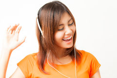 Asian woman and headphone Royalty Free Stock Image