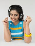 Asian woman with headphones Stock Photo