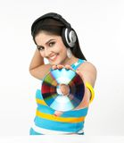 Asian woman with headphones Stock Photography