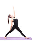Asian woman health care yoga posting isolated white background Royalty Free Stock Photos