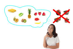 Asian woman with healthy eating concept Stock Photography