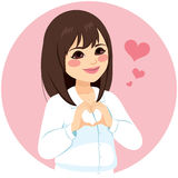 Asian Woman Heart Shape Hands Royalty Free Stock Images